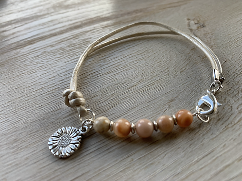 Precious Sunstone White Leather Bracelet with Charm