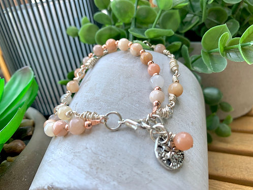 Precious Sunstone with Rose Gold Silver Double Wrap Chain Bracelet