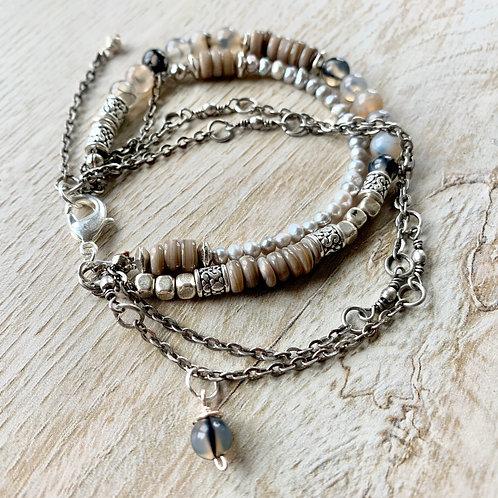 Precious Agate Gemstone Handcrafted Chain Bracelet