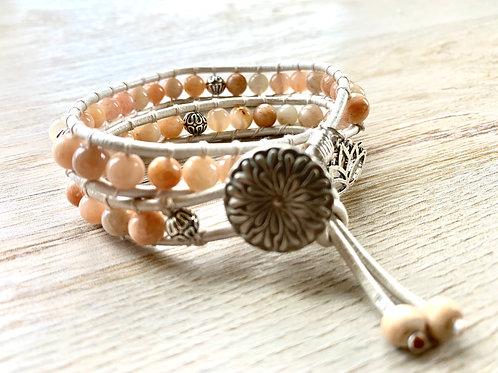 Precious Sunstone Double Boho Wrap Bracelet