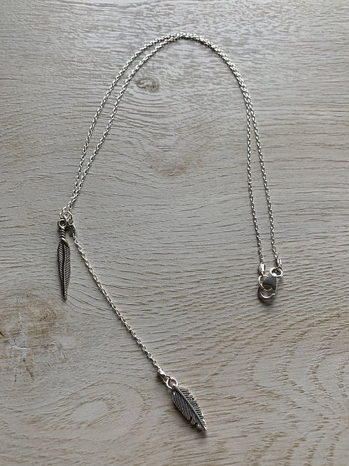 Cascading Silver Plated Leaf Charm Necklace
