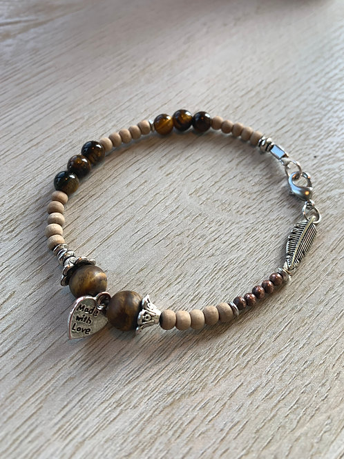 Precious Tigers Eye & Sandalwood Gemstone bracelet