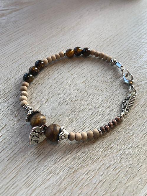 Precious Tigers Eye & Sandalwood Gemstone bracelet