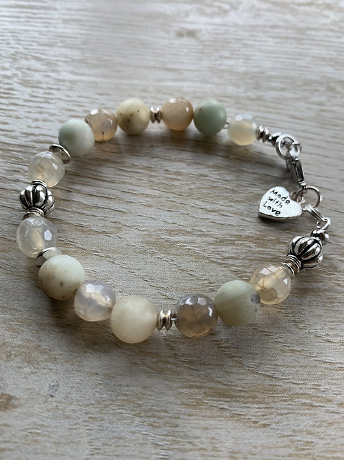 Precious Agate and Amazonite Gemstone bracelet