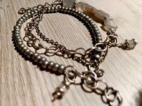 Smokey Moonstone Gemstone Layered Bracelet