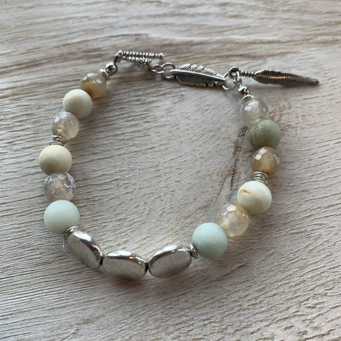 Precious Agate and Amazonite Gemstone bracelet with Leaf Charms