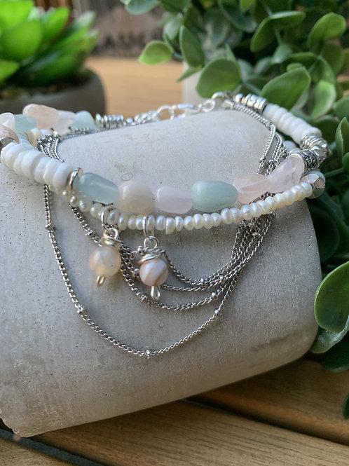 Precious Morganite,  Tridacna Gemstone and Pearls, Mixed Shell Chain Bracelet