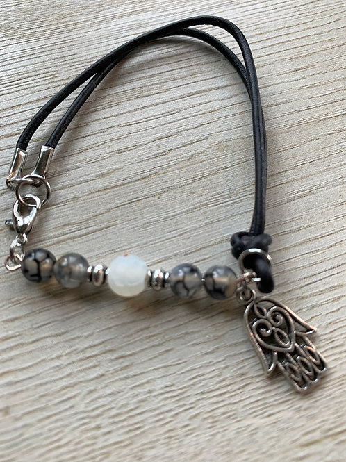 Precious Rutilated & Crackled Agate Gemstone with leather bracelet