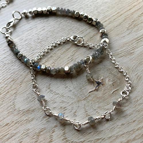 Precious Laboradite Gemstone and Silver Handmade Stackable Bracelets