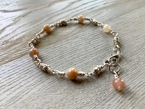 Precious Sunstone with Silver Double Wrap Chain