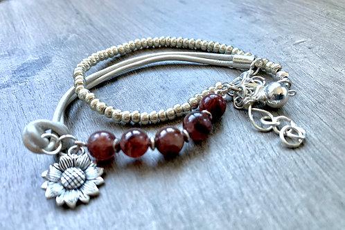 Precious Strawberry Quartz Gemstone and Silver Handmade Silver Bracelet Stack
