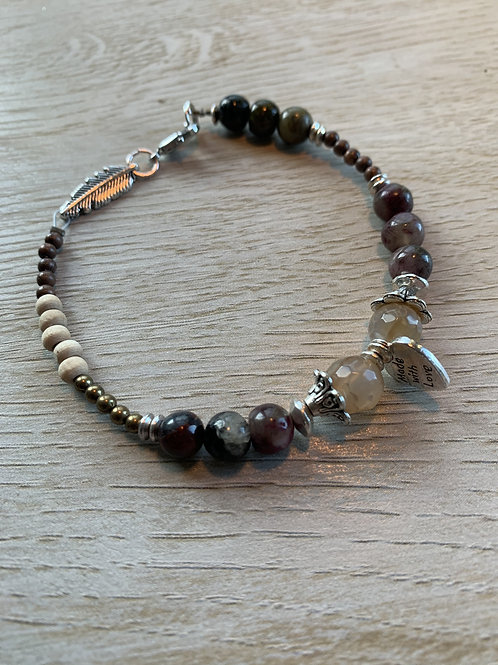 Precious Gemstone Agate & Tourmaline Bracelet