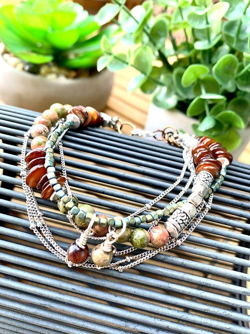Precious Unakite & Hematite Gemstone, Mixed Shell Chain Bracelet