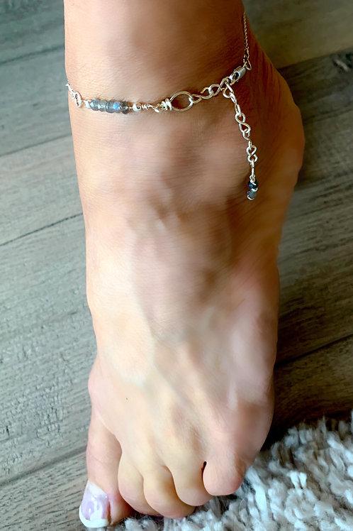 Labradorite Gemstone an Silver Anklet