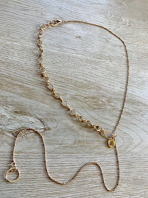 14 Karat Gold Filled Lariat Necklace with Handmade Chain