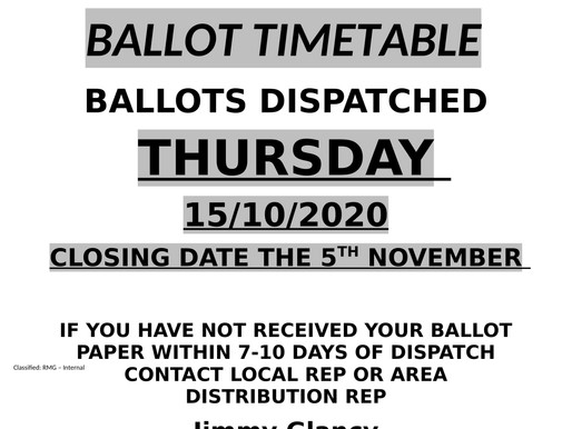 FOR THE ATTENTION OF ALL COLLECTION AND DISTRIBUTION MEMBERS EDINBURGH MAIL CENTRE