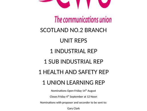 The CWU Scotland No2 Branch Unit Rep Elections.