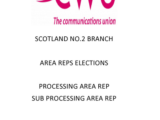 The CWU Scotland No2 Area Rep Elections