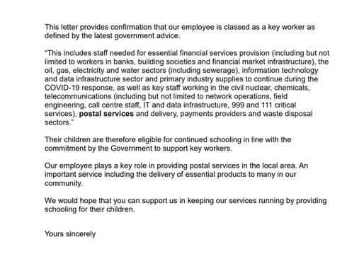 A copy of the key workers letter  for Royal mail and Parcelforce workers