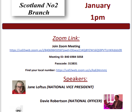 Members Announcement:                Cwu Scotland No2 Special Meeting Sunday January 10th at 1pm