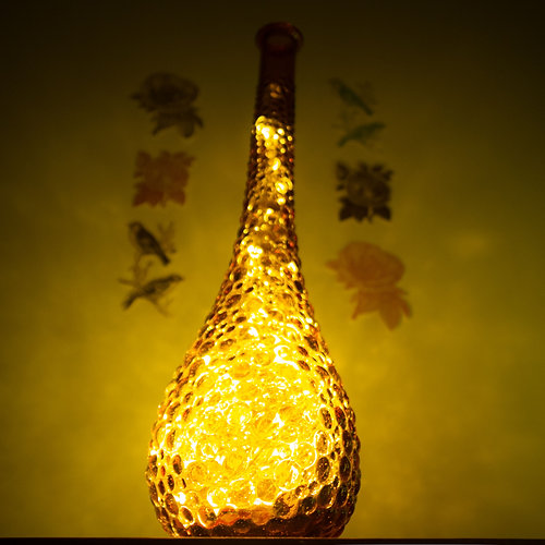 Genie Bottle Lamp  Flame Orange. Twice Drunk   Sustainable Homewares and Upcycled Lamps   Genie