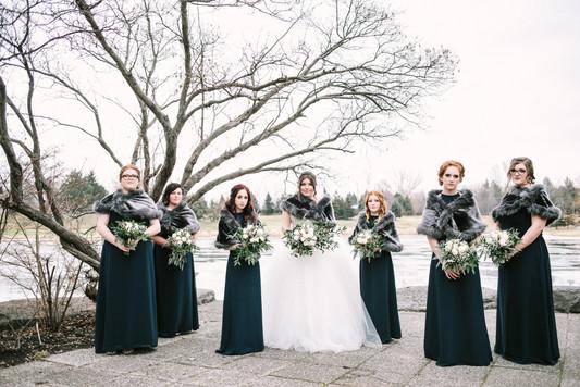 Hazelton Manor Winter wedding - Bridesmaids Outside