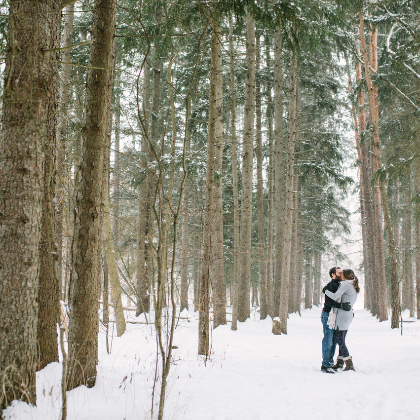 snowy forrest engagement photos - Pickering