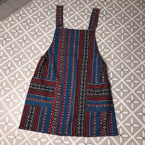 Blue & Red Thai Weave Dungaree Dress M/L