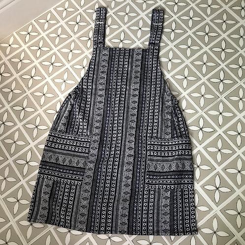 Black & White Thai Weave Dungaree Dress M/L