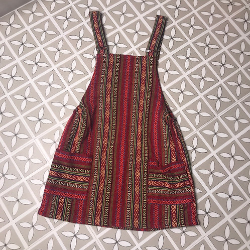 Red & Purple Thai Weave Dungaree Dress S/M