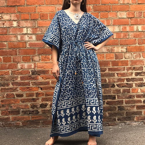 Blue Boho Kaftan Dress