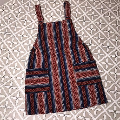 Orange & Navy Thai Weave Dungaree Dress M/L