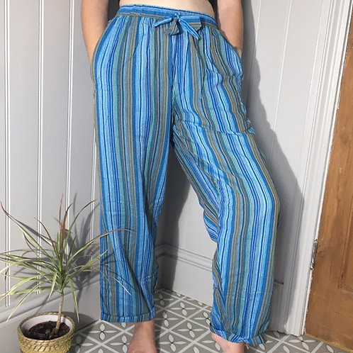 Fair Trade Clothing Blue Nepalese Stripy Trousers 1
