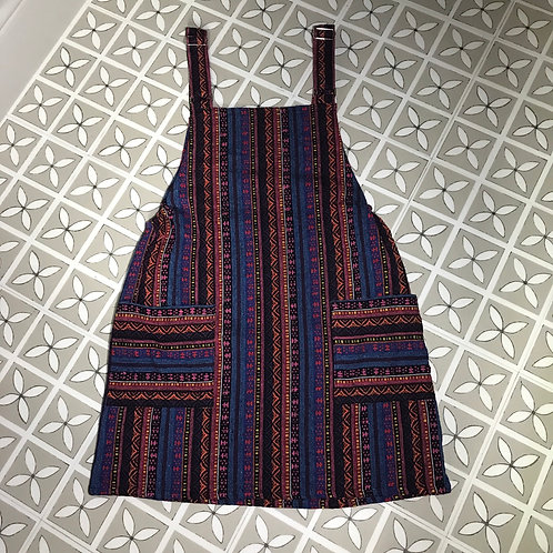 Purple & Pink Thai Weave Dungaree Dress M/L