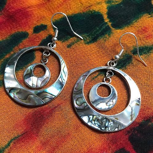 Abalone Double Circle Earrings