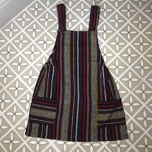 Red & Black Thai Weave Dungaree Dress S/M