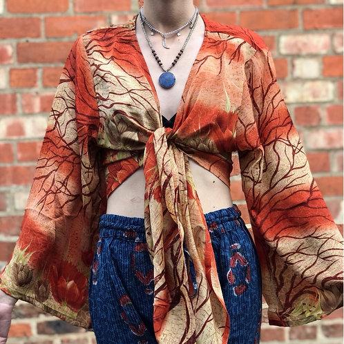 Autumn Sari Wrap Top