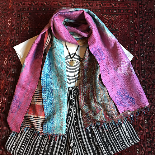 Recycled Kantha Silk Scarf
