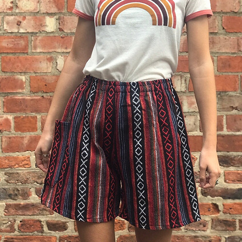 Red & Black Thai Weave Shorts