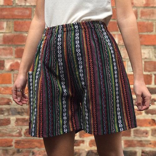 Green & Pink Thai Weave Shorts