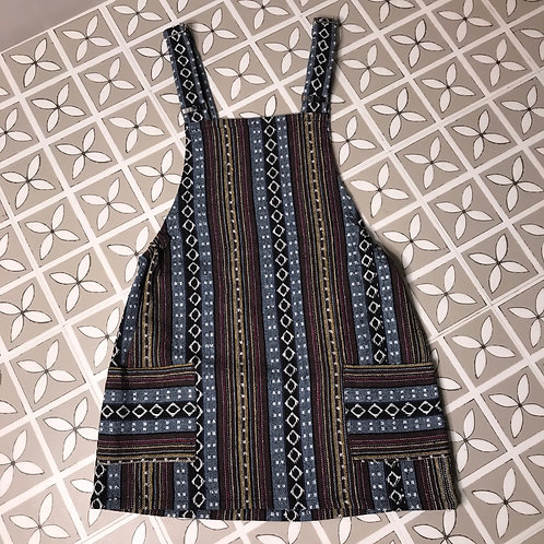 Grey Thai Weave Dungaree Dress M/L