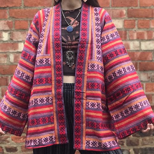 Pink Sunset Thai Weave Kimono Jacket