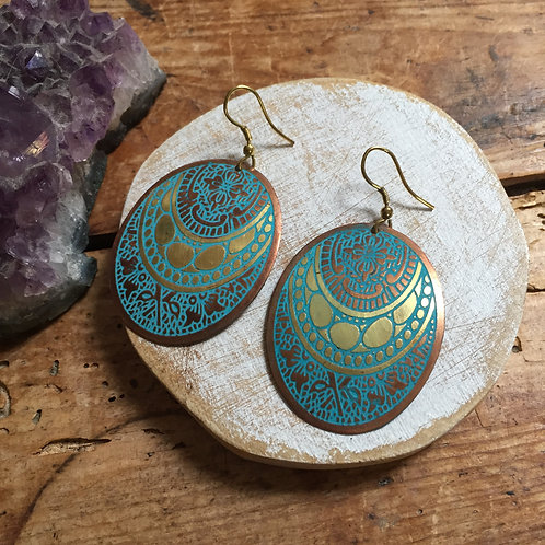 Fair Trade Jewellery Blue and Gold Oval Earrings 1