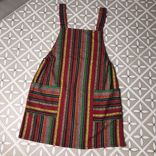 Red & Green Thai Weave Dungaree Dress M/L