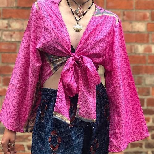Fuschia Sari Wrap Top