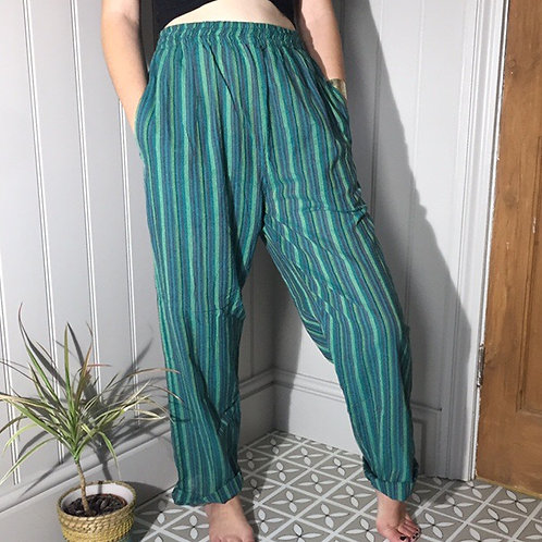 Fair Trade Clothing Green Nepalese Stripy Trousers 1