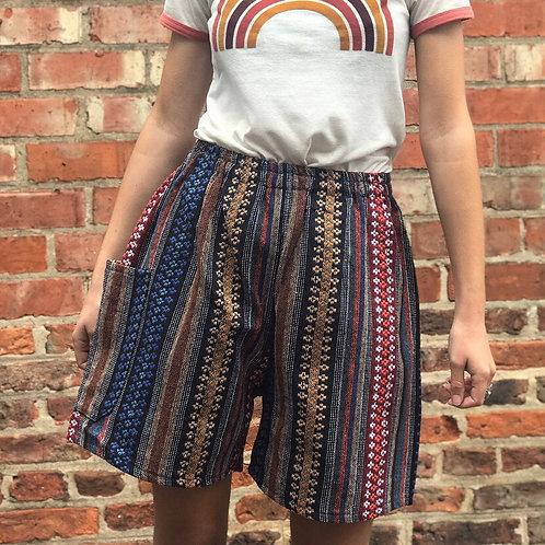 Brown & Blue Thai Weave Shorts