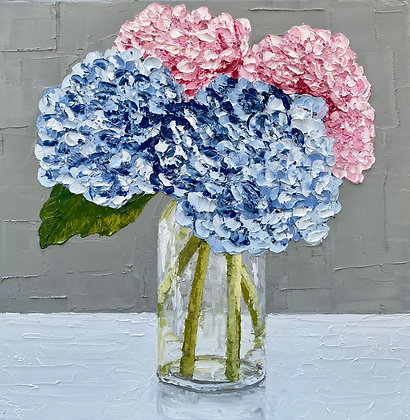 Blue and Pink Hydrangea Posie