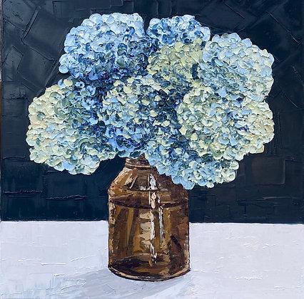 Blue Green Dried Hydrangea Posie