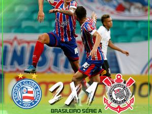 Bahia vence o Corinthians na Fonte Nova e deixa a zona de rebaixamento